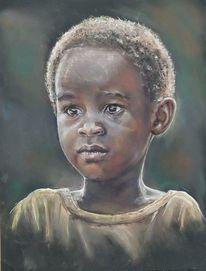 Pastellmalerei, Menschen, Afrika, Portraitzeichnung
