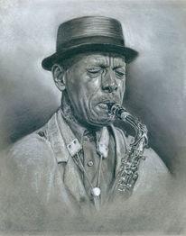 Jazz, Kohlezeichnung, Ornettecoleman, Saxofon