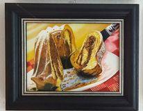 Kuchen, Gabel, Teller, Malerei