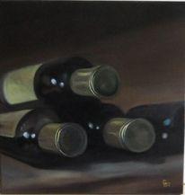 Flasche, Alt, Braun, Malerei