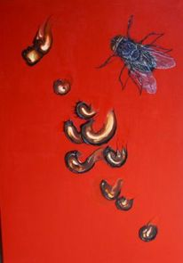 Rot, Ekel, Fliege, Malerei