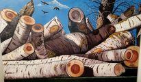 Kalt, Birken, Baum, Malerei