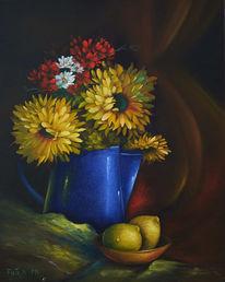 Ölmalerei, Studie, Schale, Blau