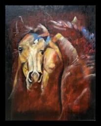 Pferde, Spiegel, Acrylmalerei, Wild
