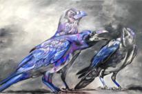 Rabe, Weiß, Krähe, Acrylmalerei