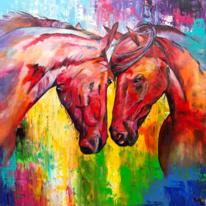 Pferde, Acrylmalerei, Spachteltechnik, Acrylpainting