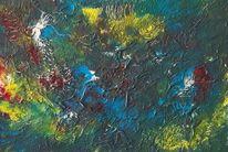 Blumen, Blätter, Acrylmalerei, Pflanzen
