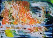 Abstrakt, Feuer, Malerei, Brand