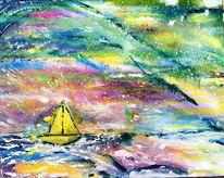 Meer, Boot, Malerei, Reise