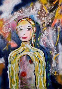 Abstrakt, Frau, Sehen, Malerei