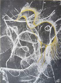 Aquarellmalerei, Abstrakt, Aquarell, Reiher