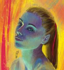 Digitale malerei, Augen, Skizze, Malerei