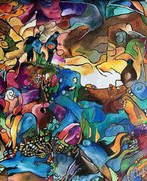 Bunt, Pastellmalerei, Abstrakt, Malerei
