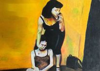 Überfall, Frau, Gelb, Zigarette