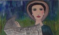 Zeitung, Portrait, Frau, Frühling