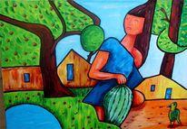 Frau, Garten, Melone, Malerei