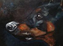 Ölmalerei, Dobermann, Tiere, Malerei