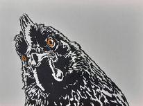 Huhn, Vogel, Linolschnitt, Böser blick