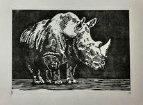 Nashorn, Tiere, Linolschnitt, Druckgrafik
