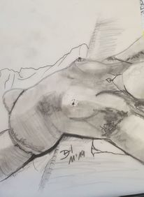 Frau, Bleistiftzeichnung, Liegend, Akt
