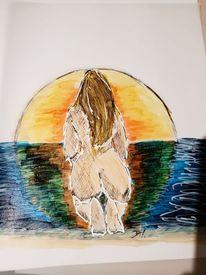 Sonnenuntergang, Akt, Copic, Malerei