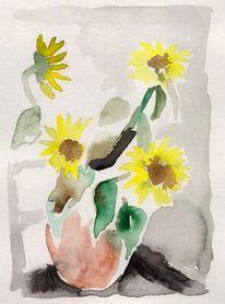 Aquarellmalerei, Pflanzen, Malerei, Sonnenblumen