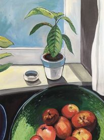 Obst, Grüne schale, Fenster, Malerei