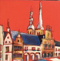 Marktplatz, Nicolaitürme, Lemgo, Malerei