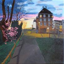 Stadt, Landschaft malerei, Sonnenuntergang, Park