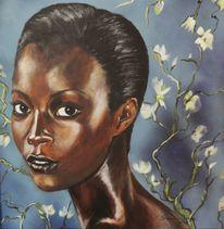 Gesicht, Negroide schönheit, Frauenportrait, Acrylmalerei