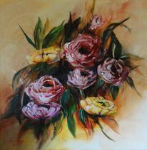 Frühlingsblumen, Pfingstrosen, Blumen, Malerei