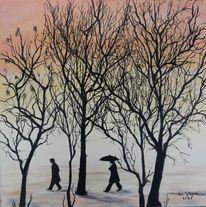 Menschen, Acrylmalerei, Schnee, Bäume im winter