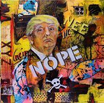 Portrait, Trump, Acrylmalerei, Streetart