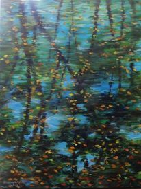 Herbst, Herbstbaum, Acrylmalerei, Wasserspiegelung