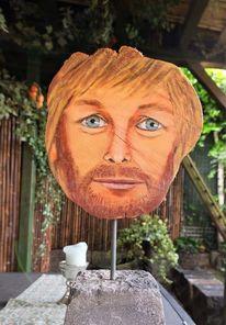 Holzskulptur, Gartenskulptur, Mann mit bart, Plastik