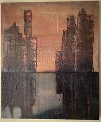 Skyline, Abendrot, Abstrakt, Malerei