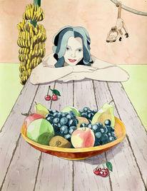 Früchte, Banane, Malerei, Affe