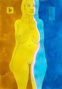 Frau, Aquarellmalerei, Akt, Gelb