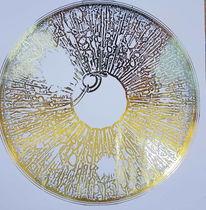 Iris eines auges, Goldenes metall, Metallicbild, Druckgrafik