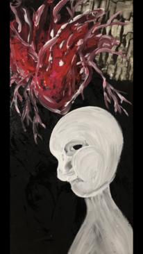 Herz, Blub, Gesicht, Malerei