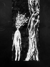 Wesen, Baum, Dunkel, Malerei