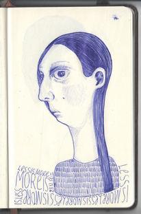 Zeichnung, Blau, Kopf, Fliege