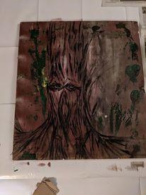 Baum, Holz, Acrylmalerei, Malerei