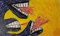 Alien, Wurm, Acrylmalerei, Malerei
