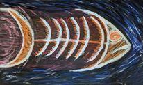Fisch, Acrylmalerei, Holz, Malerei