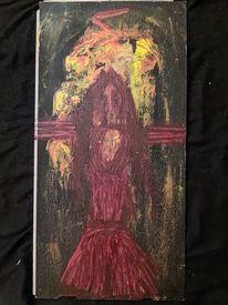 Holz, Acrylmalerei, Hexe, Feuer