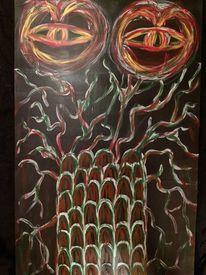 Holz, Acrylmalerei, Monster, Pflanzen