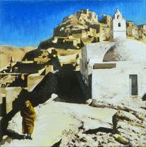 Bergdorf, Menschen, Schatten, Nordafrika