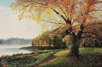 Herbst, Baum, Acrylmalerei, Malerei