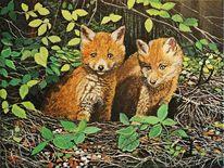 Fuchs, Wald, Acrylmalerei, Malerei